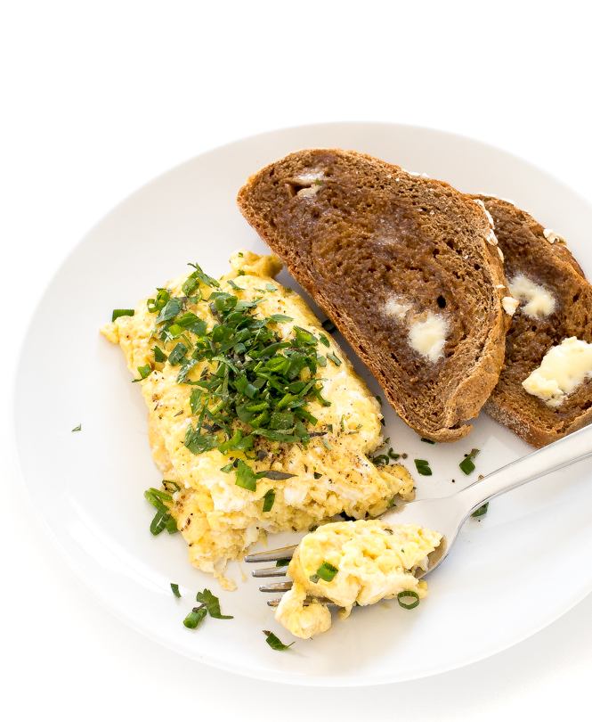 herb loaded eggs with toast