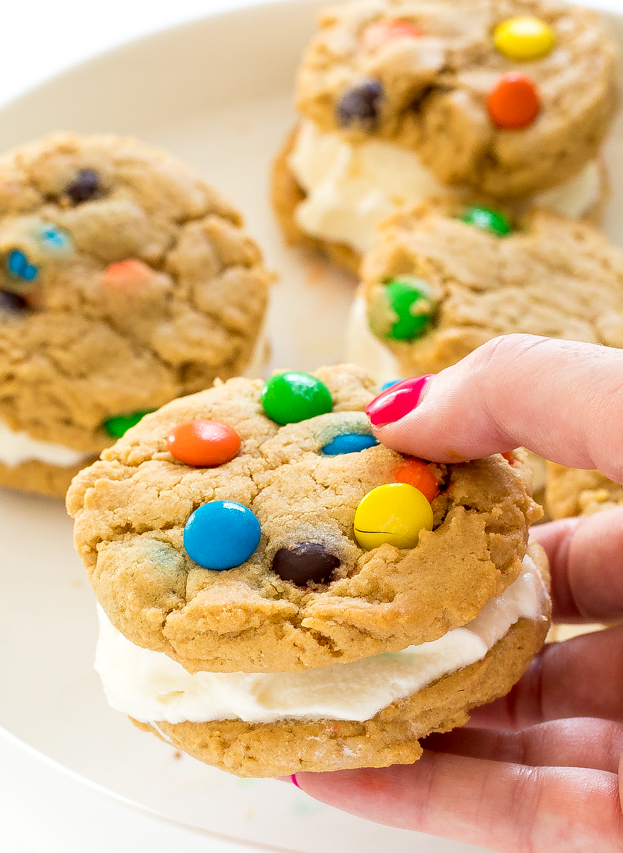 Peanut Butter M&M Ice Cream Cookie Sandwiches   chefsavvy.com