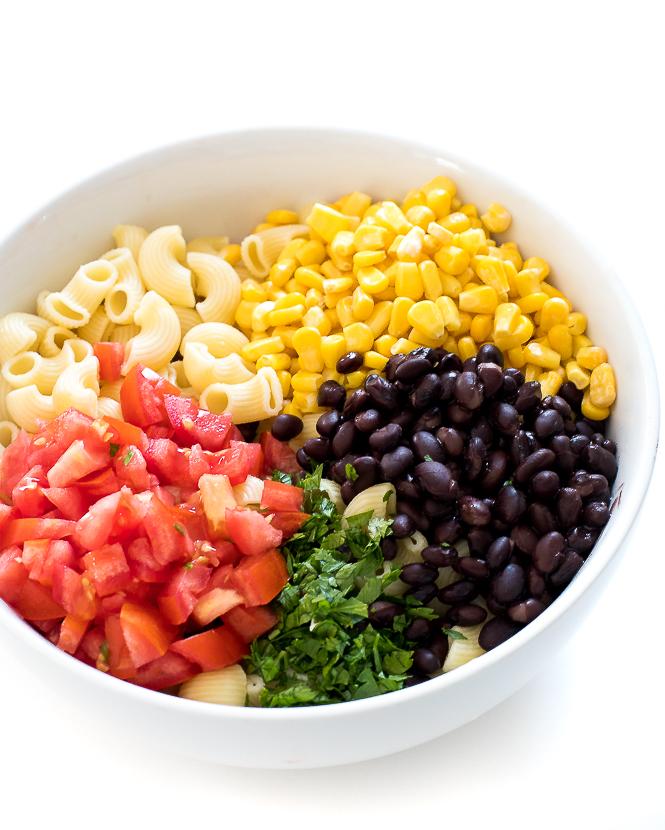 Mexican Pasta Salad Ingredients | chefsavvy.com