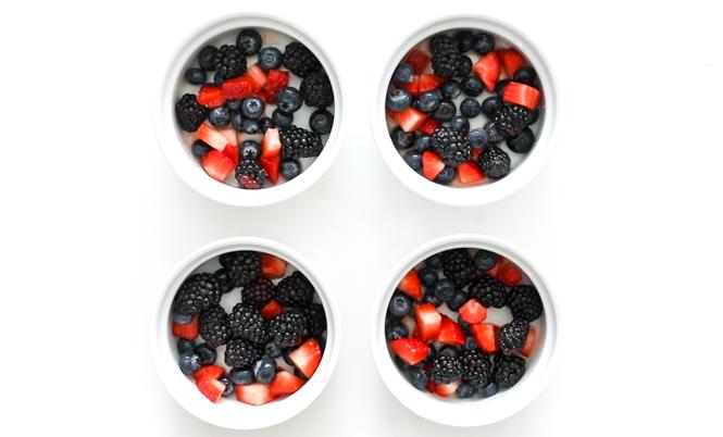 Mixed berries in white ramekins