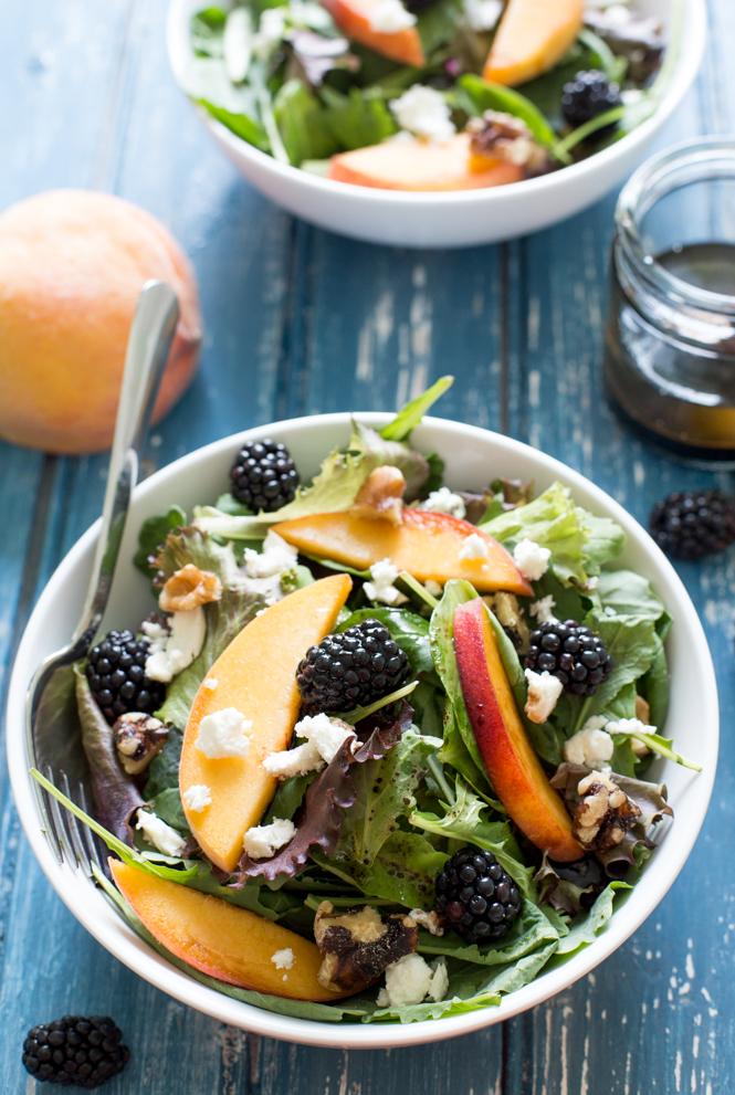 Peach Feta and Blackberry Salad