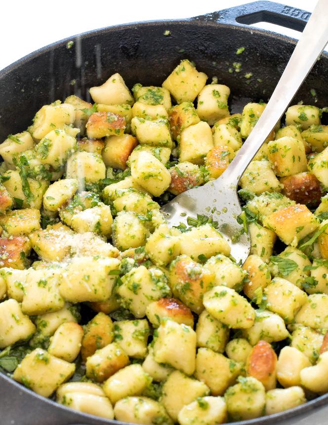 Homemade gnocchi tossed with pesto | chefsavvy.com