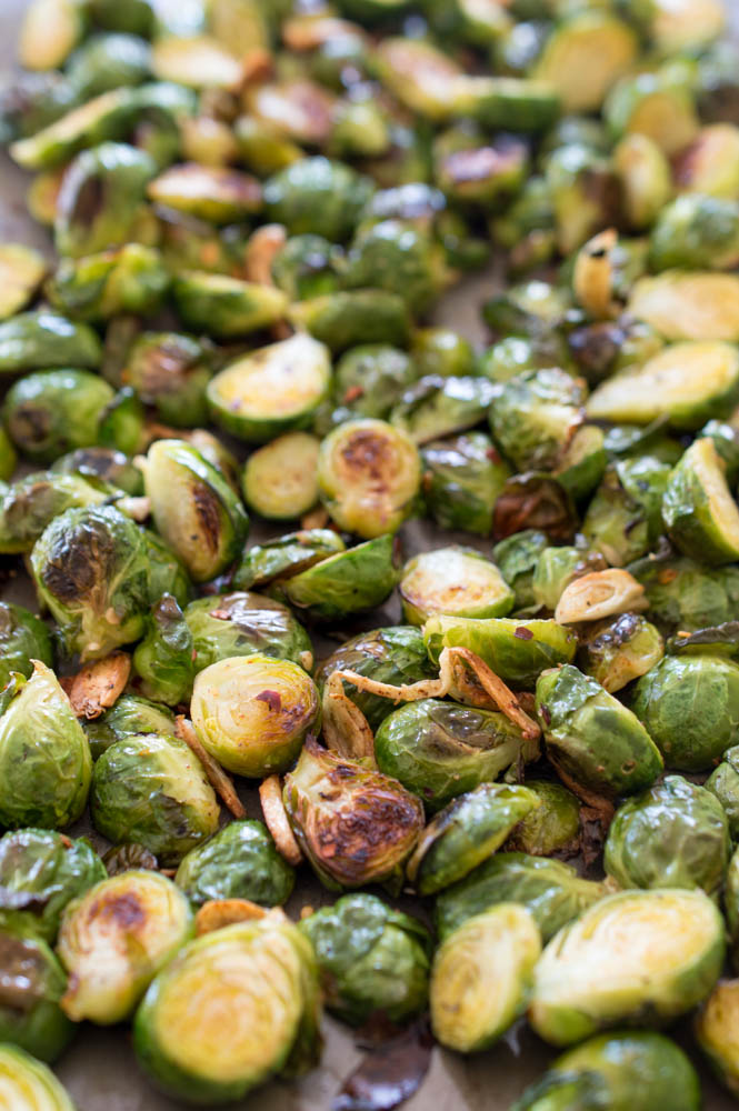 Spicy Roasted Garlic Brussels Sprouts | chefsavvy.com