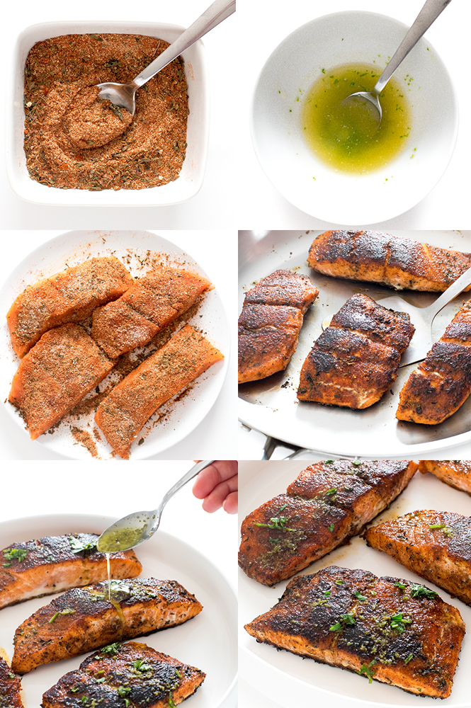 Step by step pictures for how to make blackened salmon | chefsavvy.com