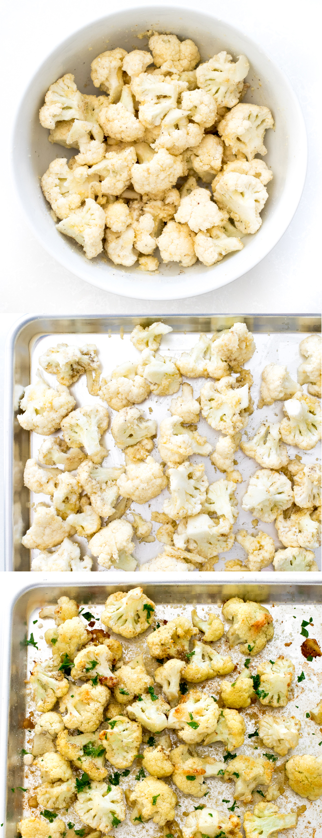 Step by step pictures of cauliflower cooked in the oven on a sheet tray | chefsavvy.com