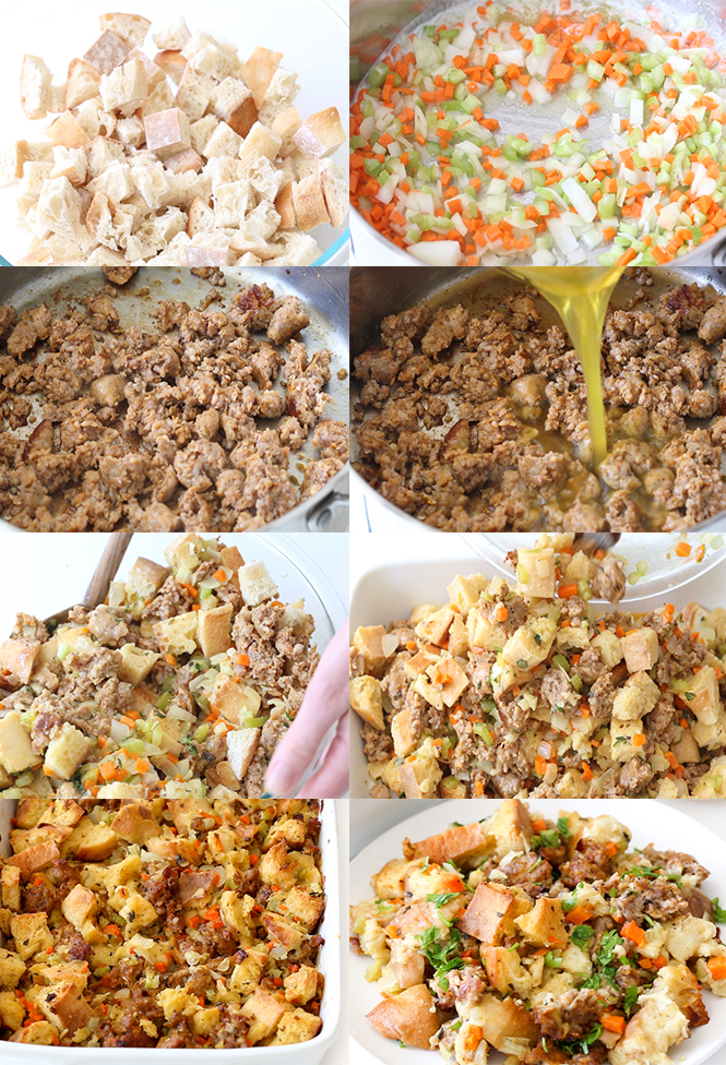 Step by step pictures of Sausage Stuffing | chefsavvy.com