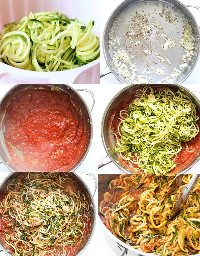 Step by step guide to making zucchini noodles with tomato sauce | chefsavvy.com