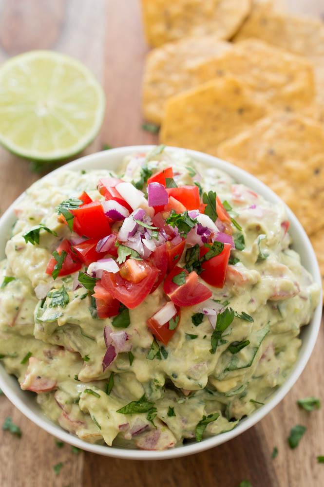 Super Easy Healthy Greek Yogurt Guacamole | chefsavvy.com #recipe #appetizer #side #healthy