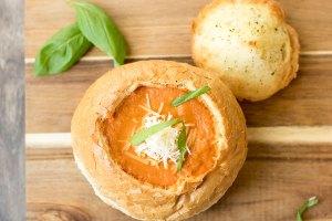 Tomato Soup in a Garlic Bread Bowl