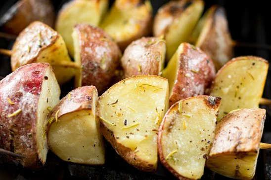 Garlic Rosemary Potato Skewers