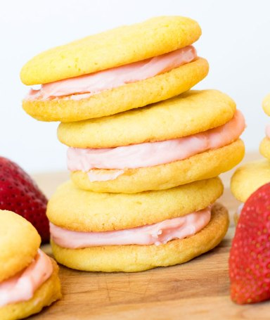 Strawberry Lemon Sandwich Cookies