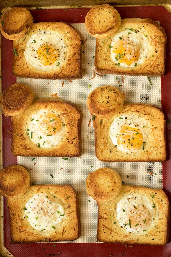 Sheet Pan Eggs in a Basket