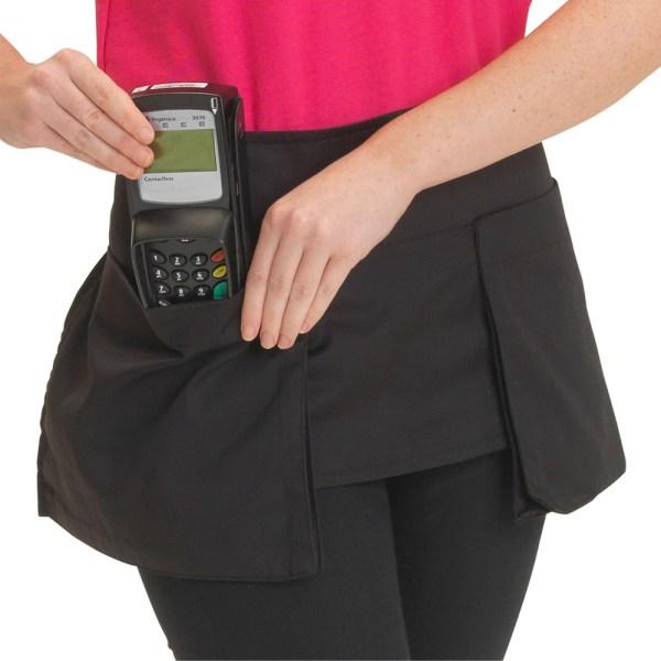 Dennys Big Pocket Waist Apron in Black Polycotton