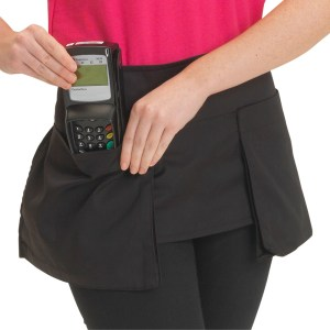 Dennys Big Pocket Waist Apron in Black Polycotton