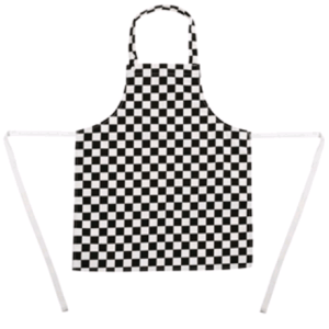 Childrens Bib Apron Big Black and White Chec