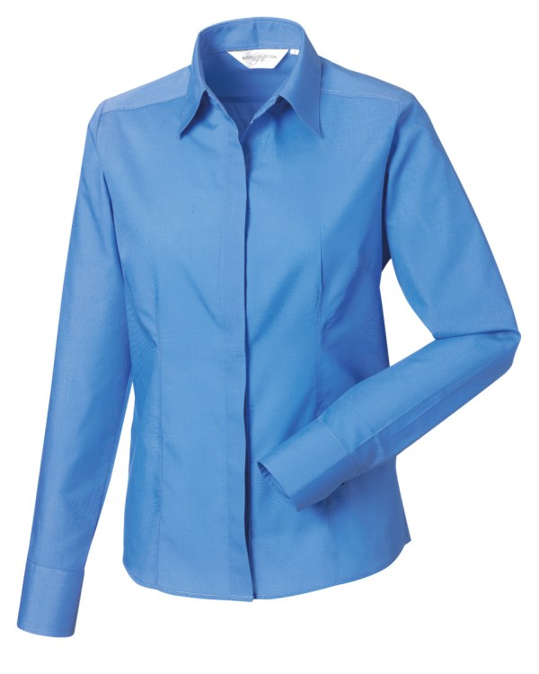 Ladies' Long Sleeve Polycotton Easy Care Fitted Poplin Shirt