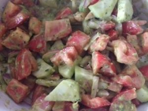 avocado pesto tomato salad