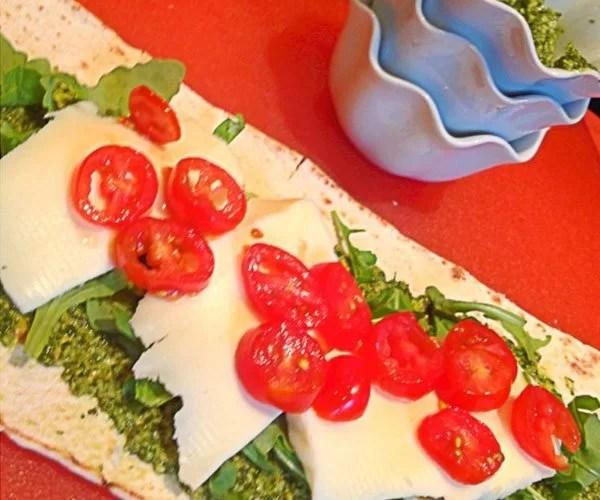 Mozzarella Caprese Arugula with Walnut Pesto Wrap