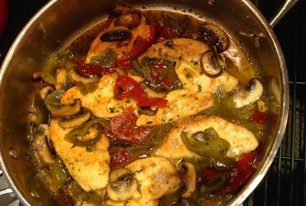 Chicken with Vinegar Peppers and Mushrooms