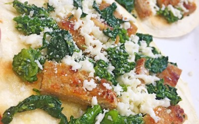 Pizza Tortillas with leftover Pork Cutlets and Broccoli Rabe
