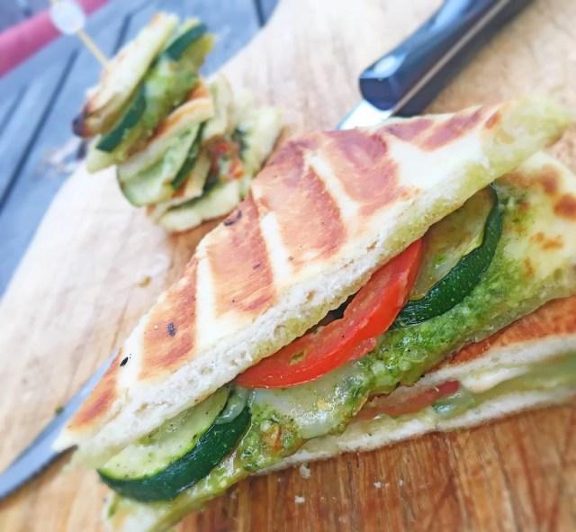 Zucchini Pesto Panini on Naan Bread