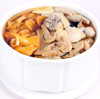 Double-Boiled Matsutake, Conch Meat And Chicken Soup