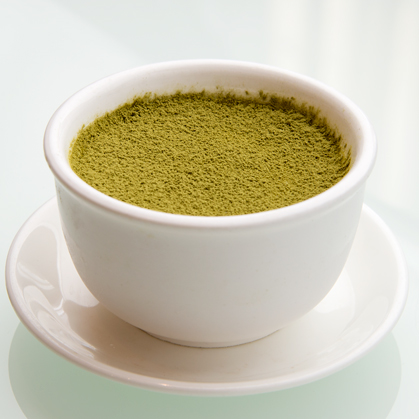 Chilled green tea milk pudding