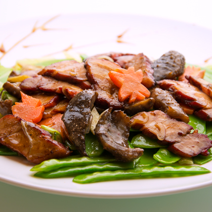 Stir-fried BC sea cucumber with barbequed pork and green bean