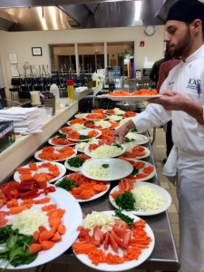 knife skills prepped veggies