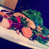 Pan Fried Salmon on a bed of Rainbow Salad