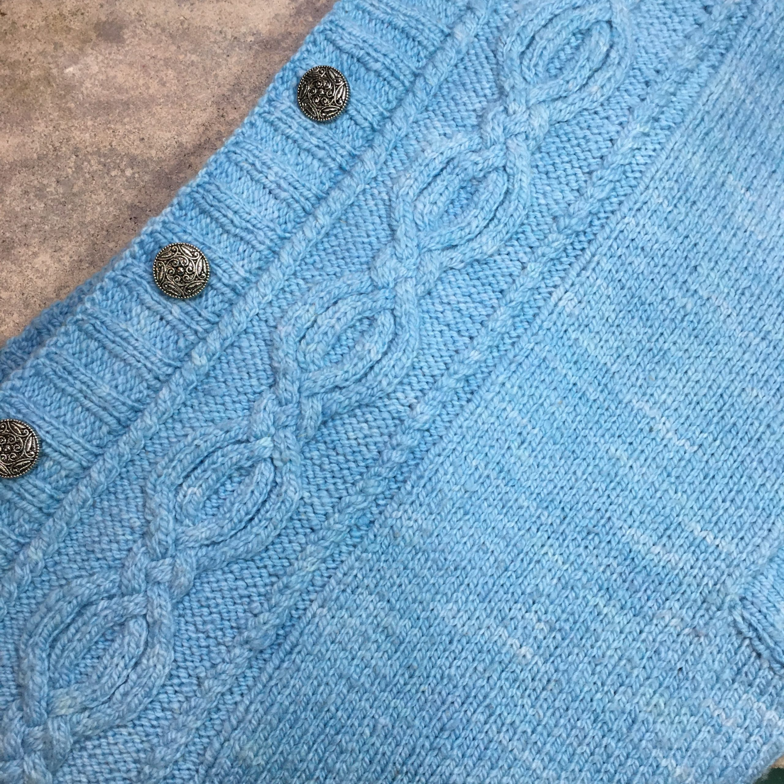 Sweater knit in San Luis Valley yarn color Dream Sky Blue