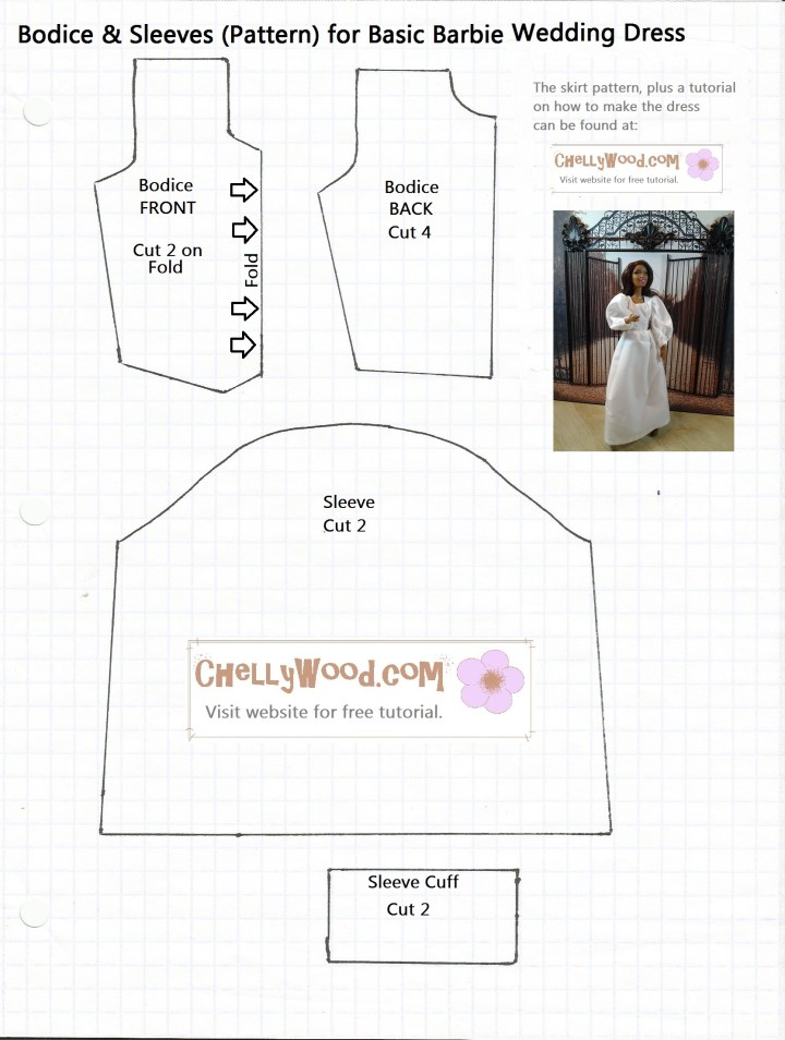 Printable Barbie Doll Clothes Pattern for a Barbie Wedding Dress