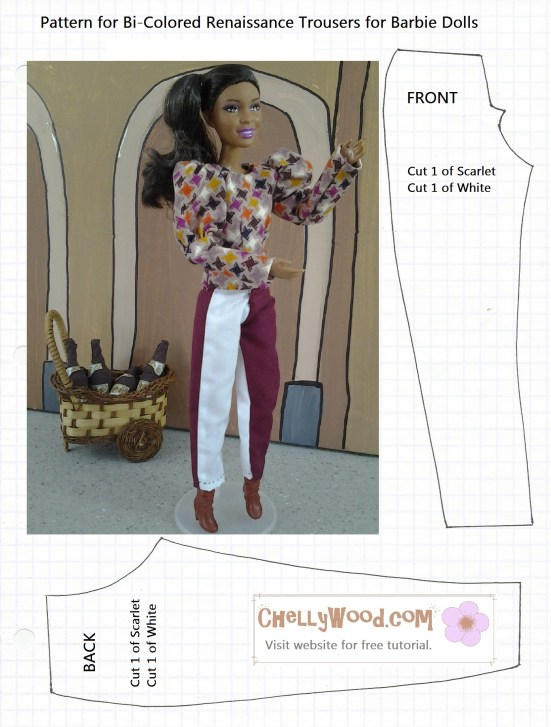 Printable pattern for bi-colored pants (Renaissance style) for Barbie dolls