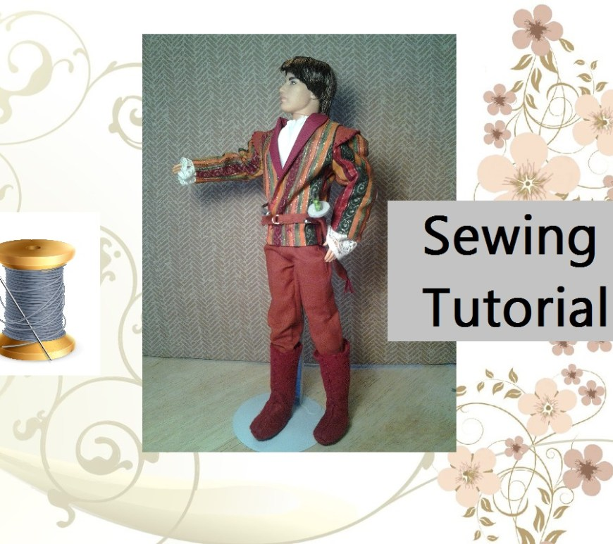 "Image of Ken Doll dressed handsomely in prince costume. Title overlay says, ""Sewing Tutorial."""
