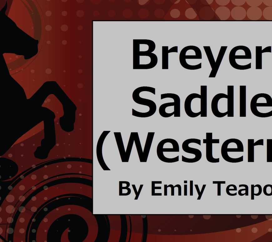 "Image of horse rearing behind a sign that says, ""Breyer Saddle Western by Emily Teapot"""