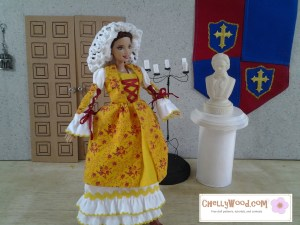 Image of Barbie doll dressed in traditional Basque dress with Renaissance Snood
