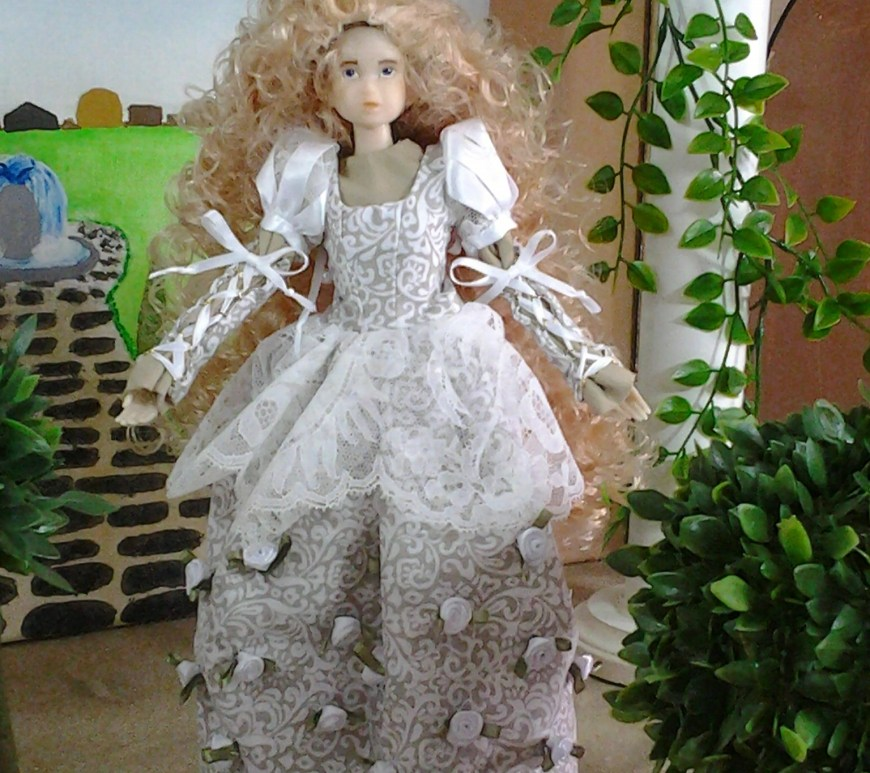 Image of So Cute Marine Momoko Doll Wearing Wedding Dress in Renaissance Style with Puff Sleeves and Decorated in Silk Roses