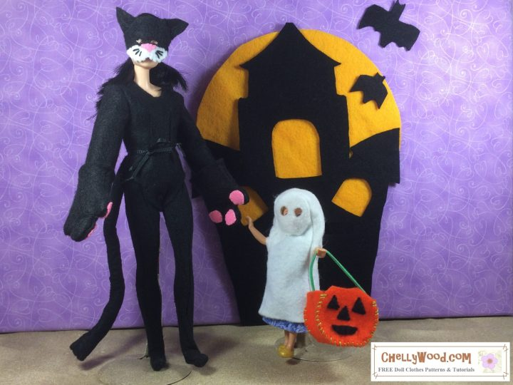 """Image shows a Made-to-Move Barbie wearing a Cat costume and a Polly Pocket wearing a ghost costume. Both costumes are hand-sewn. The Polly Pocket doll carries a jack-o-lantern, and the two dolls stand before a felt haunted house with a full moon rising behind it. The ground at their feet is sandy. Overlay says, """"ChellyWood.com: free printable sewing patterns for dolls of many shapes and sizes."""""""