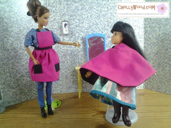 Image of a BArbie and a Liv Doll in a hairdresser's salon diorama.
