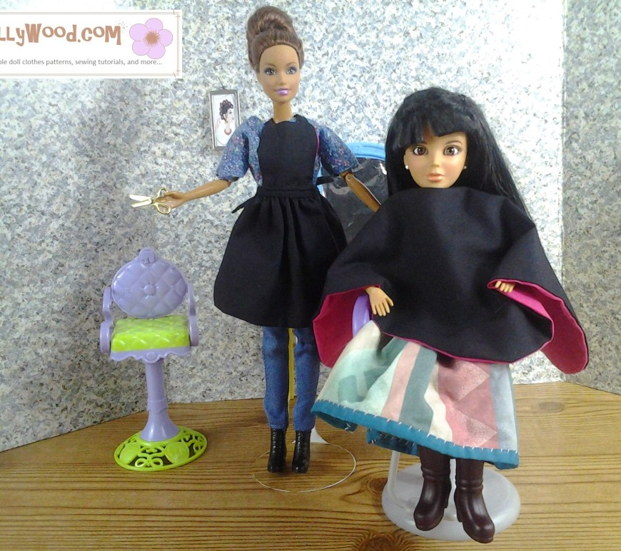 Image of Barbie in hairdresser's apron and Liv doll in hairdressers's smock.