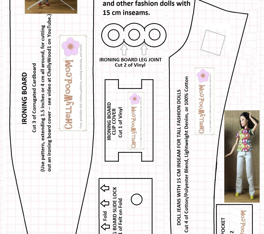 "Image of tall Barbie wearing handmade jeans on a pattern for sewing a pair of these jeans. Overlaying words say ""Jeans and adjustable ironing board patterns"" and smaller words say ""The jeans will fit Tall Barbie TM and other fashion dolls with 15 cm inseams. Image includes ironing board pattern and is stamped with ChellyWood.com on all patterns"