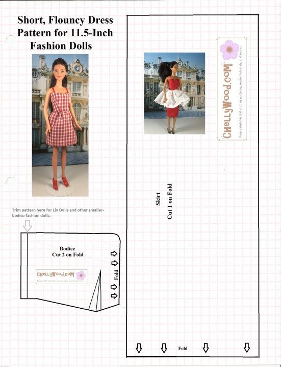 Image of sewing pattern for a sun dress with straps. Overlaid with images of Barbie dolls wearing the sun dress in a red plaid print fabric.
