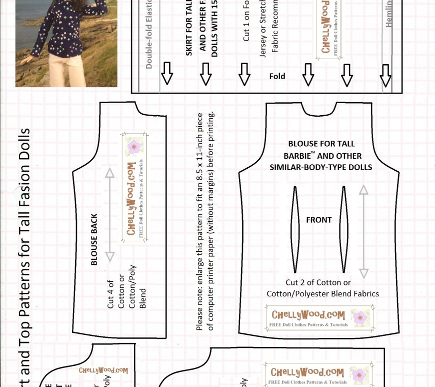 "Image of Mattel's Tall Barbie from the Fashionista line waving at the camera atop a series of printable sewing patterns. Overlay says ""Skirt and Top Patterns for Tall Fashion Dolls"" with a note: enlarge the pattern to fit an 8.5x11-inch piece of computer printer paper (without margins) before printing. Mattel's Barbie is a trademark name."