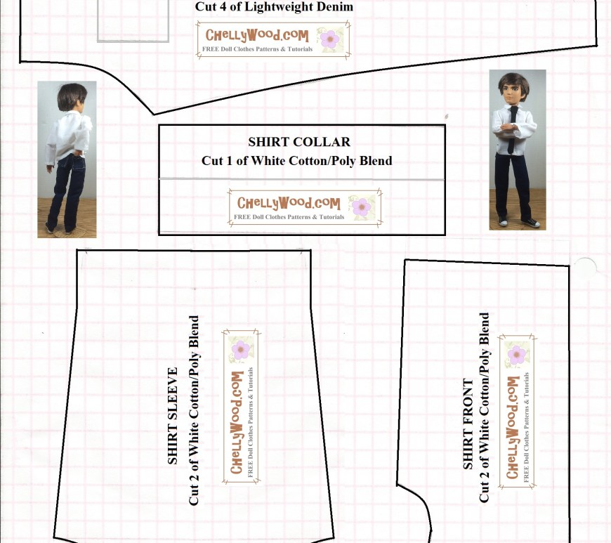 "Image of printable sewing pattern for male fashion doll clothes. Includes shirt front, shirt collar, shirt sleeve, and jeans patterns. Small print says, ""Patterns use 1/4 inch seams. Please enlarge the pattern to fit an 11 x 8.5 inch sheet of American computer paper (216 x 279 mm) before printing. Visit ChellyWood.com to find the tutorial video to match this pattern."