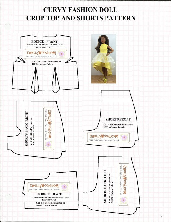 """Image of printable sewing pattern for shorts and a crop top (or dress bodice) to fit the Mattel Fashionista Curvy Barbie or Tammy Doll (from Ideal). Overlay says, """"ChellyWood.com: free, printable sewing patterns and tutorials."""""""