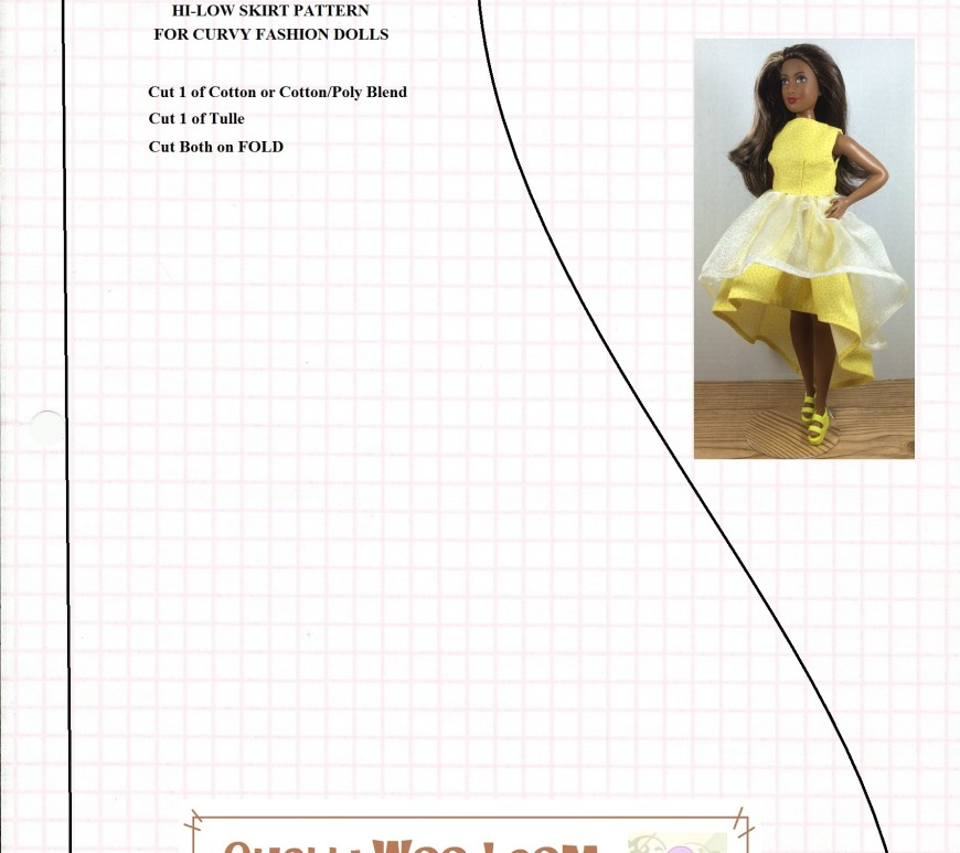 Image is a printable sewing pattern for making a high-low gathered skirt to fit Barbie or other fashion dolls. Overlay says, ChellyWood.com: free printable sewing patterns and tutorials.
