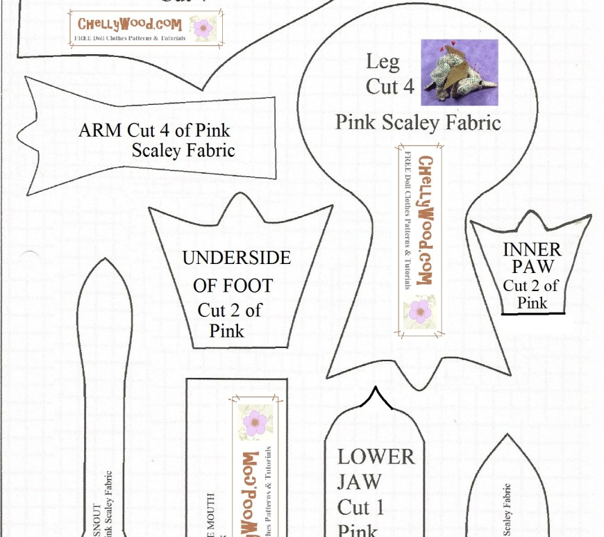 "Image includes pattern shapes for a dragon-shaped pin cushion. It tells how many pieces to cut out for each shape, and whether to use print or solid fabric. Overlay says, ""ChellyWood.com: Free printable sewing patterns."""