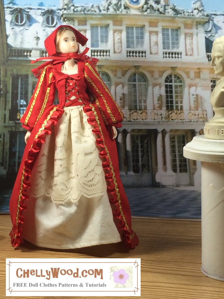 The image shows a Momoko doll wearing a renaissance gown with shift and bonnet. The doll stands in a foyer or atrium with statues and columns all around her. Her dress is decorated in ribbons and ruffles. Her shift is lacy. If you'd like to make these doll clothes for your Momoko doll, please click on the link in the caption for the free printable sewing patterns and tutorial video for sewing these doll clothes. Japanese translation: 画像はシフトとボンネット付きのルネッサンスガウンを着た桃子人形を示しています。 人形はホワイエまたはアトリウムに立っており、周りには彫像や柱があります。 彼女のドレスはリボンとフリルで飾られています。 彼女のシフトはレースです。 モモコ人形用にこれらの人形の服を作りたい場合は、キャプションのリンクをクリックして、これらの人形の服を縫うための無料の印刷可能な縫製パターンとチュートリアルビデオをご覧ください。