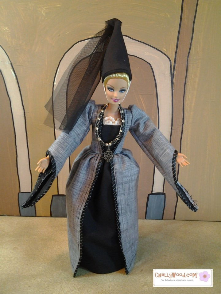 Here we see a Mattel Barbie doll wearing the quintessential pointy hat and princess dress. She takes a bow on a theatrical stage. Her gown reminds us of Disney princesses or heroines like Juliet from Romeo and Juliet.
