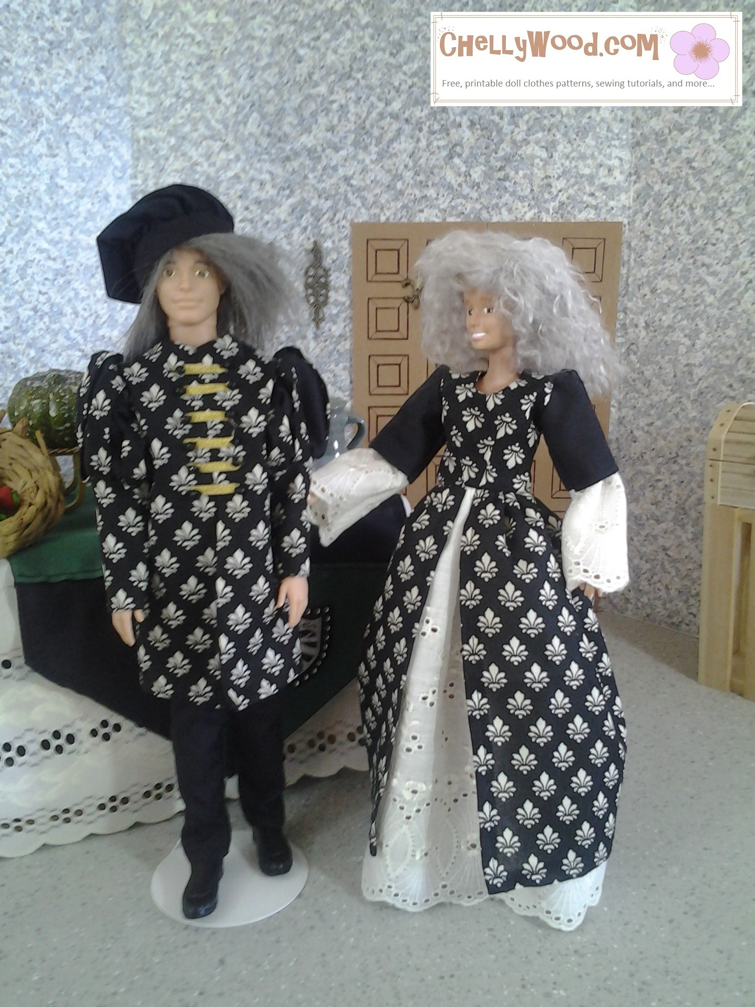 The photograph shows a Barbie and Ken whose faces and hair have been redone. The Ken doll's grey hair is quite long under his muffin cap. He has a puff-sleeve tunic and trousers. The Barbie's fluffy grey haired wig blends well with her black and white dress that has a skirt that's split in front, revealing her pale eyelet fabric petticoat. Her puffy sleeves are jet black and eyelet. The two dolls stand in a large feasting room in a castle diorama.